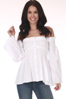 Front: White off shoulder button up blouse with long wide sleeves and smock top.