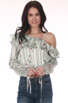 front shows off the shoulder sleeve with ruffle layer at top in a mint color and flowers all over. features long sleeves and cropped hem with elastic band at bottom
