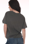 back shows plain tee in pre-worn looking grey color.