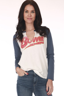 front shows classic baseball tee with blue arms, BOWIE written at front in red and slit neckline