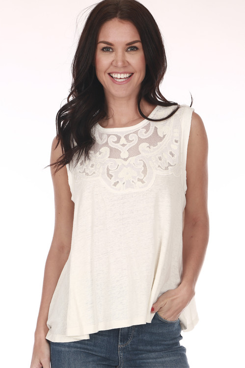 front shows tank in all cream color with top chest mesh embroidering and tank sleeves.