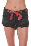 front shows button fly closure with attached red paisly scarf belt and material in a black-washed denim color.