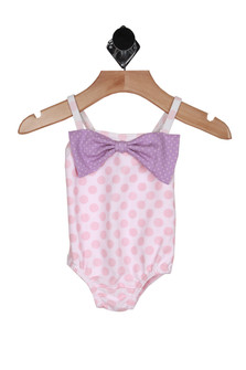 front shows pink polk-a-dot patterin with lavender bow at top.