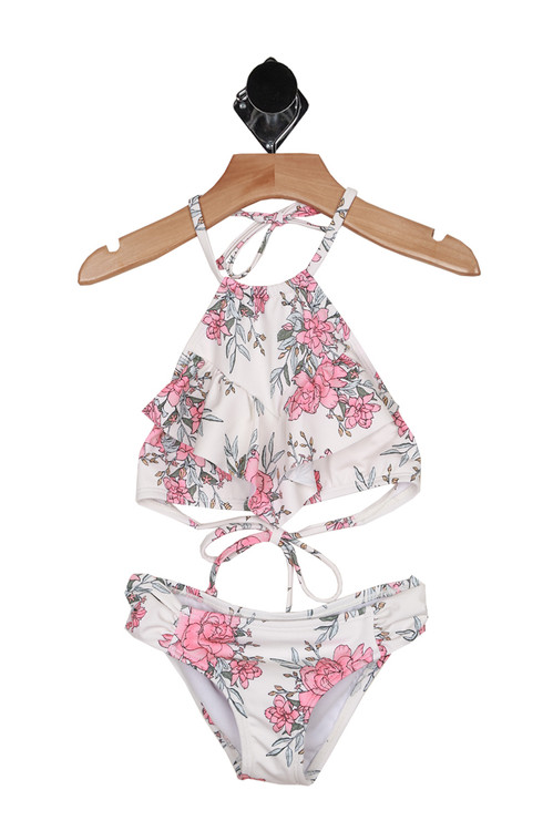 Front shows two piece suit shows all over floral pattern with white background and pink with baby blue & green flowers. Halter top high neck tie and matching bottoms.