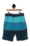 front shows teal, blue and navy horizontal stripe pattern with elastic band with drawstring at top and 2 pockets.