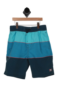the front shows teal, blue and navy horizontal stripe pattern with elastic band with drawstring at top and 2 pockets.