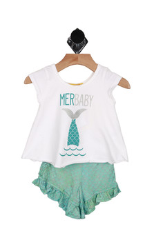 """Front shows two piece set. White tee with """"MerBaby"""" written on front with mermaid tail in water design and teal blue ruffled shorts."""