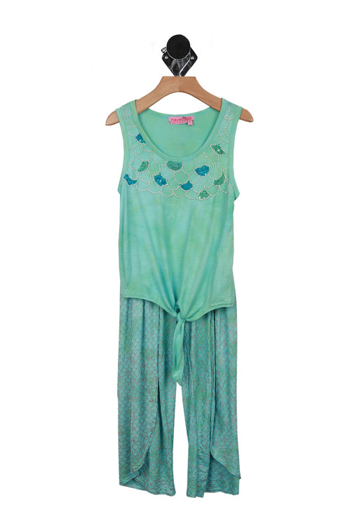 top shows beaded scale design at top with bottoms that have scale print all over and front slits. all in a teal color