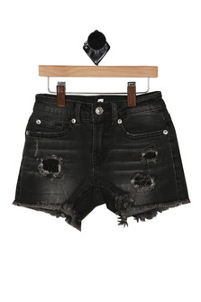 front shows distressed bottom hemline with holes and front pockets.