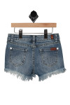 Back shows Distressed detailed denim shorts with 2 pockets.