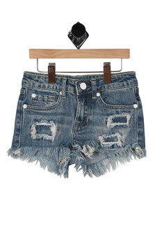Front shows ripped and distressed detailed denim shorts with 2 pockets.