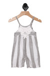 front shows grey and white vertical stripe pattern with white crochet applique at top front.
