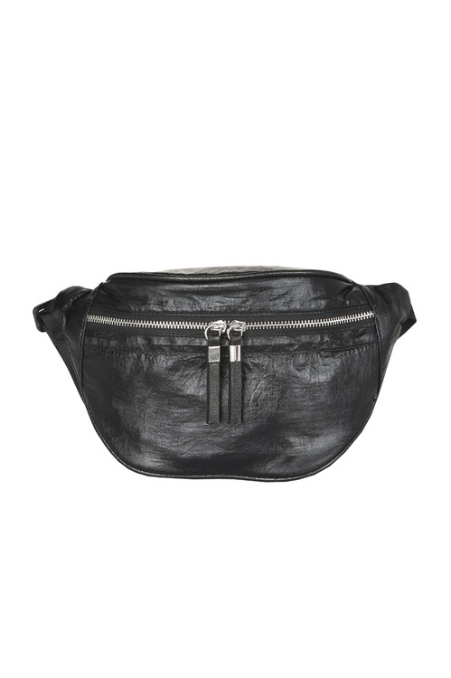 front features front silver zipper with all over black material.