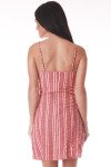 back shows adjustable straps with hidden zipper at center back, fitted body, vertical white and reddish stripes and length hits mid thigh.