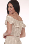 Back: Beige and creme striped crop top with ruffled off shoulder sleeves.