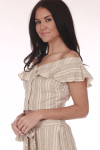 Side: Beige and creme button up striped crop top with ruffled off shoulder sleeves.