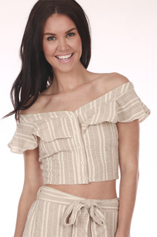 Front shows beige and creme button up striped crop top with ruffled off shoulder sleeves.