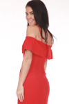 Back shows bright red spaghetti strap and off shoulder ruffled sleeves mini dress with hidden back zipper.