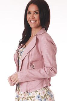 Side: Pink long sleeve Moto jacket with zipper pockets.