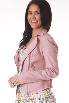 Side shows pink long sleeve Moto jacket with zipper pockets.