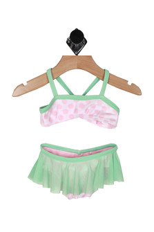 Front: Two piece teal and pink polka dot top bikini with ruffled teal skirt bottom.