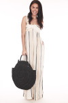 front shows full length jumpsuit with vertical black cream and white stripes.