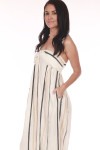 side shows full length jumpsuit with vertical black cream and white stripes & side pockets