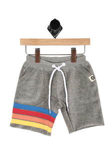 front shows drawstring elastic band top with pockets and blue, red, orange & yellow horizontal stripes at right leg.