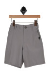 Front: Grey stretch board shorts with pockets.
