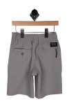 Back: Grey stretch board shorts with pockets and black  tag above right pocket.
