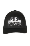 """front shows """"girl power"""" embroidered in white writing on all black hat."""