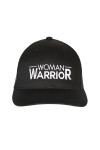 """front shows """"woman warrior"""" embroidered in white writing on all black hat."""
