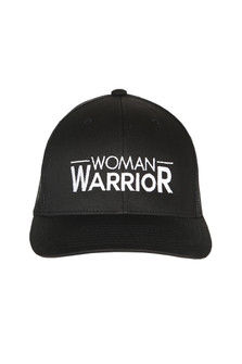 "front shows ""woman warrior"" embroidered in white writing on all black hat."