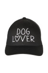 """front shows """"dog lover"""" embroidered in white writing on all black hat."""