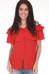 Front shows ed ruffled off shoulder blouse with button up front.