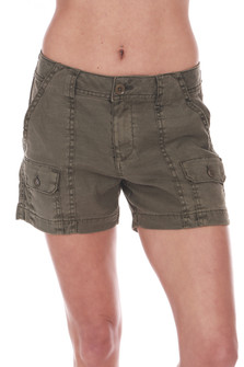 Front: Sea green cargo trouser shorts with 4 pockets.