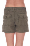 Back show sea green cargo trouser shorts with two pockets.