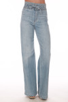 front shows belted top with no front pockets and super wide flare bottoms in a light blue denim color