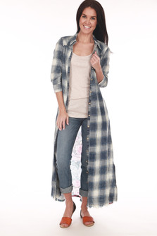 Plaid L/S Button Up Duster