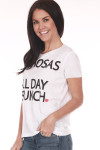 """side shows """"mimosas & all day brunch"""" printed in black writing on white t-shirt"""