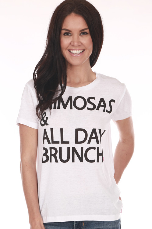 """front shows """"mimosas & all day brunch"""" printed in black writing on white t-shirt"""