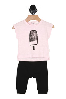Front shows two piece set with white tee with popsicle pictured on front and black pants.