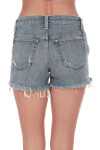 Back: Distressed denim shorts with pockets.