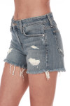 Side: Distressed denim shorts with pockets.