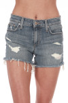 Front: Distressed denim shorts with pockets.