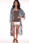 Front: Long length and sleeved multi colored and patterned flower kimono.