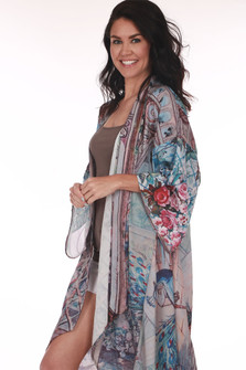 Side: Long length and sleeved multi colored and patterned flower kimono.