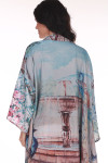 Back: Long sleeved multi colored and patterned kimono with water fountain design.