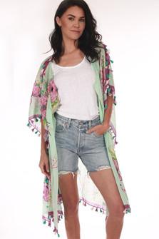 Printed Kimono W/ Tassels