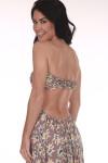 Back shows Mauve flower patterned open smock back strapless maxi dress.